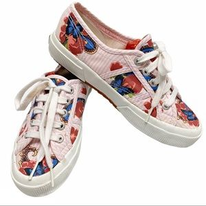 Superga pink candy striped floral sneakers 6